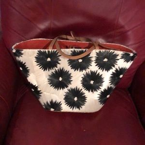 Kate Spade Limited KS Cream and Black Straw Tote